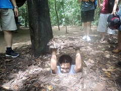 Mr. Ong and family at Cu chi tunnel